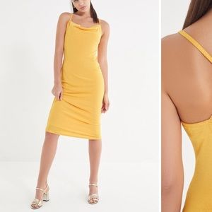 URBAN OUTFITTERS cowl neck gold/yellow midi dress